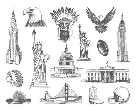 Sketches of architectural and historical symbol of the United States
