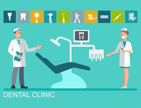 De tandarts en verpleegster bij de tandstoel. Platte illustratie