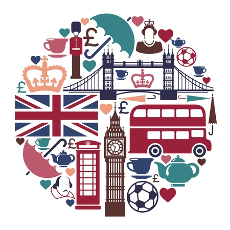 Symbols of England and London in the form of a circle