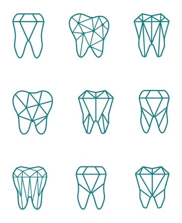 Tooth logo set. Vector illustration for dental clinic branding with teeth in modern style. Illustration