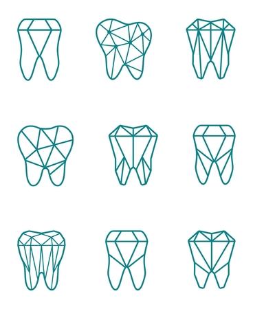 Tooth logo set. Vector illustration for dental clinic branding with teeth in modern style. Illusztráció