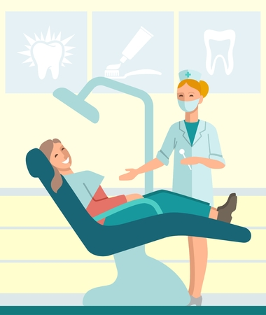 Dentist and patient in dental chair. Flat Illustration Illustration