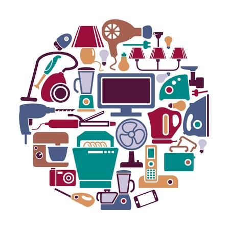epilator: Set of icons of different home appliances Illustration