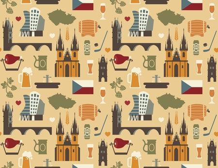 Seamless pattern with symbols of the Czech Republic Illustration