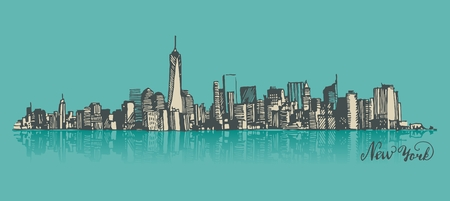 united states: Manhattan New York United States of America, engraved vector illustration, hand drawn, sketch Illustration