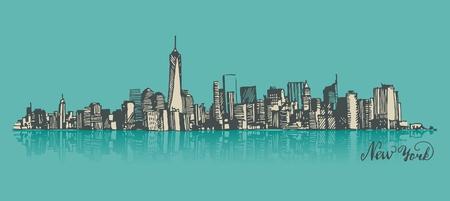 Manhattan New York United States of America, engraved vector illustration, hand drawn, sketch 일러스트