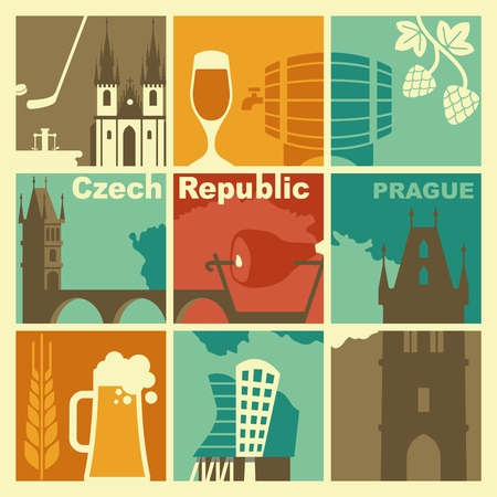 icons: Czech Republic symbol. Vector icons and symbols set