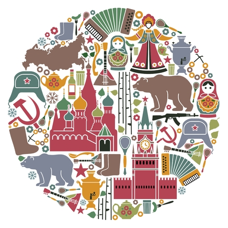 Traditional symbols of Russia in the form of a circle