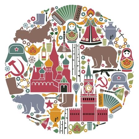Traditionelle Symbole Russlands in Form eines Kreises Standard-Bild - 75203635