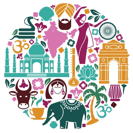 Traditional symbols of India in the form of a circle. Illustration