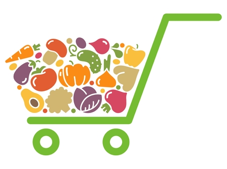 corne: Stylized shopping cart full of fresh vegetables. Illustration