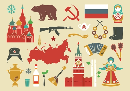 Traditional symbols of Russia. Set of vector icons. Illustration