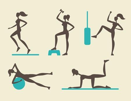 siluetas de mujeres: Las mujeres hacen ejercicios de jogging y deporte. Siluetas estilizadas del vector