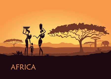 African landscape with local women and child