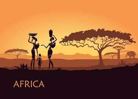 Paysage africain avec des femmes et des enfants Banque d'images - 76586441
