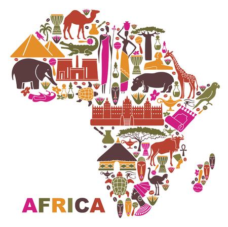 지도의 형태로 아프리카의 자연, 문화 및 건축물의 상징
