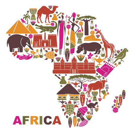 Symbols of nature, culture and architecture of Africa in the form of a map Ilustração