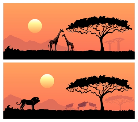 Wilde dieren in de achtergrond van de Afrikaanse zonsondergang Stock Illustratie