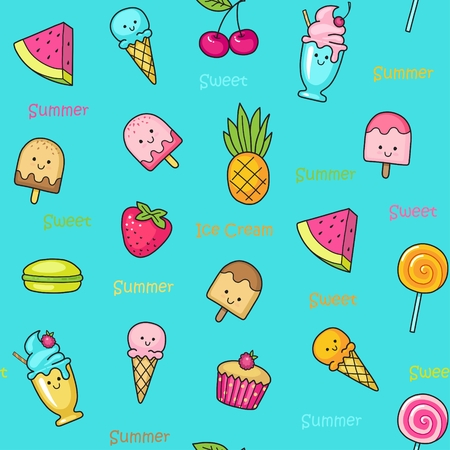 Seamless doodle pattern with ice cream, desserts, fruit and cakes Illustration
