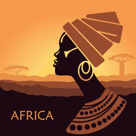 Tropical landscape. Beautiful black woman. African savannah card Illustration