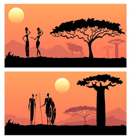 African sunset landscape with silhouettes of people.