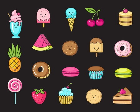 Funny flat icons of donuts, cupcakes, fruit, berries and ice cream.