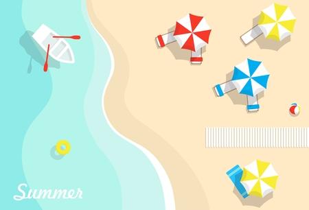 Top view of beach, sea, beach umbrellas and boats.