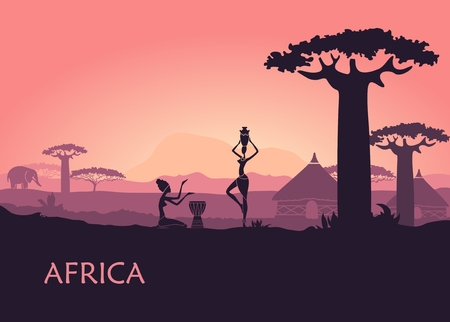 African landscape with local woman, baobabs and traditional huts