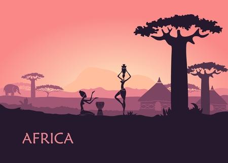 Afrikaans landschap met lokale vrouw, baobabs en traditionele hutten