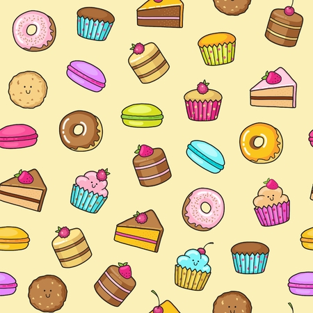 cheesecake: Seamless background of sweet and dessert doodle. Pattern wiht cute cake, sweet donat, cartoon cookies and macaron Illustration