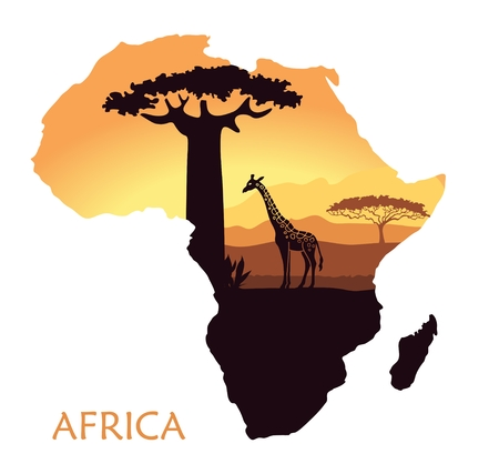 Sunset in the Savannah. The landscape in the form of a map of Africa Illustration