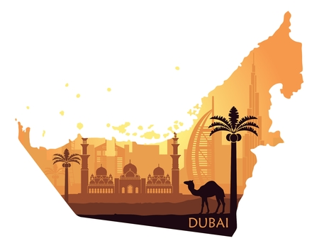 Skyline of Dubai with camel in the form of a map of the UAE