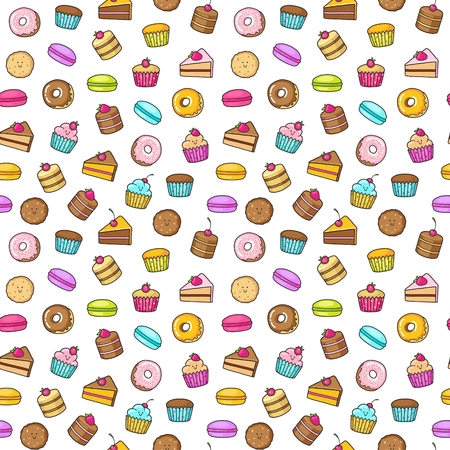 cupcake illustration: Seamless background of sweet and dessert doodle. Pattern wiht cute cake, sweet donat, cartoon cookies and macaron Illustration