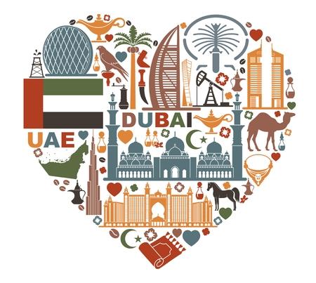 Símbolos de los Emiratos Árabes Unidos en forma de corazón