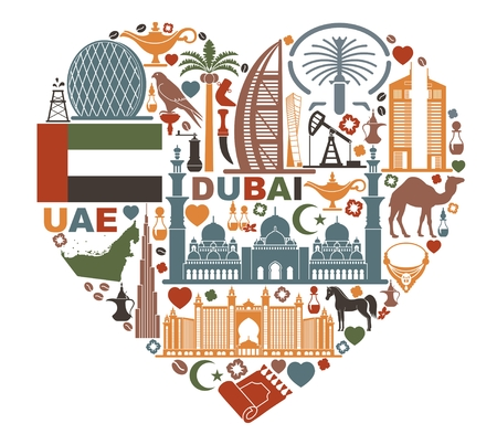 Symbols Of The United Arab Emirates in form the heart Фото со стока - 78599957