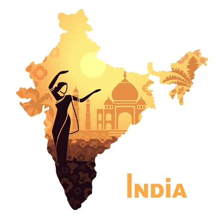 country: Dancing woman in traditional dress against the backdrop of the Taj Mahal in the form of a map of India Illustration