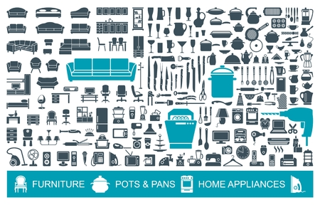 Big set of quality icons household items. Furniture, kitchenware, appliances