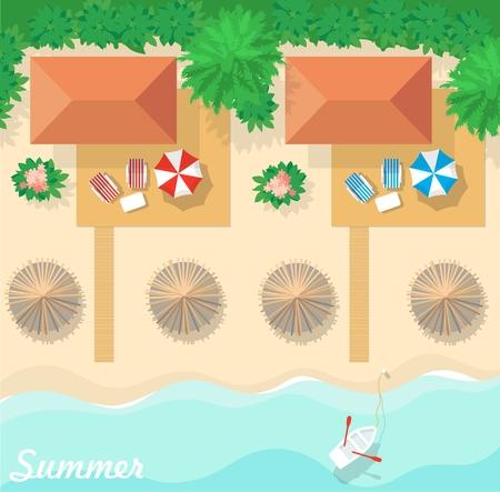 Aerial view of summer beach in flat design style. Bungalow resort for summer holidays. Vektoros illusztráció