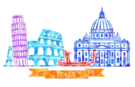 The Colosseum, leaning tower, gondolier, St. Peter s Cathedral. Traditional symbols of Italy in polygonal style.