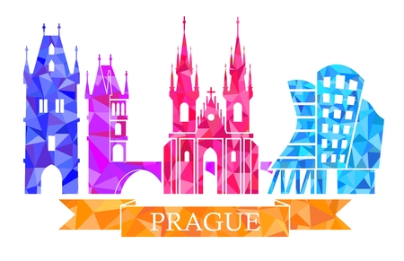 europe: Powder tower, Charles bridge, Tyn Church, Prague dancing house. Traditional symbols of Prague, in the polygonal style