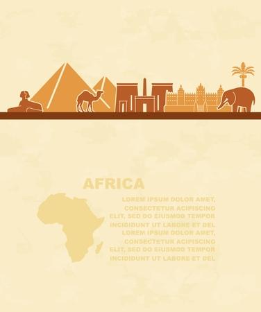 Landmarks and animals of Africa. Tourist leaflet Çizim