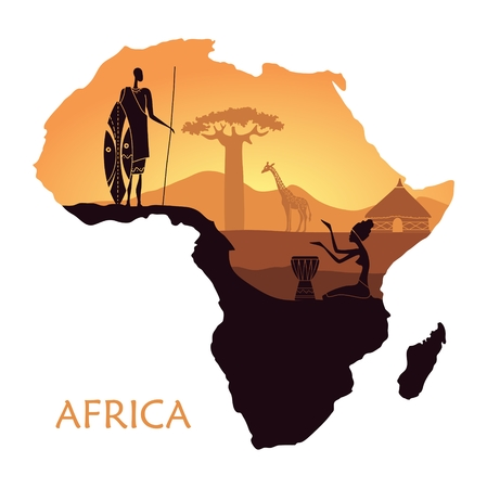 Map of Africa with the landscape of sunset in the Savannah, warrior, woman and giraffe. Vector background Illustration