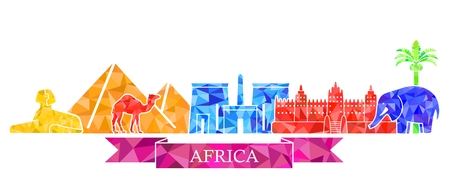 The symbols of architecture and nature of Africa in the polygonal style