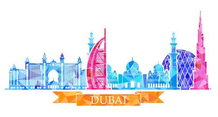 Vector illustration of Dubai city. Polygon image. Stock vector