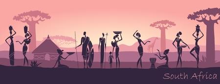 Afrikanische Männer und Frauen gegen die Landschaft von Afrika Standard-Bild - 80101075