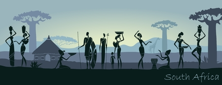 African sunset landscape with silhouettes of people Illustration