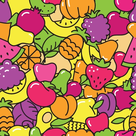 Seamless background with pictures of fruits and vegetables Vettoriali