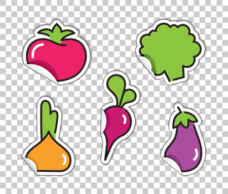 Stickers with images of vegetables. Tomato, broccoli, radish, onion and eggplant on a transparent background