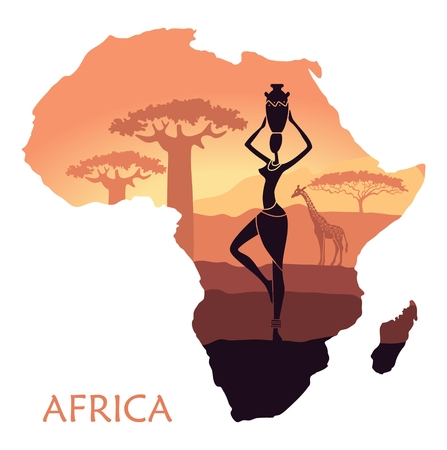 kenya: Sunset in the Savannah. The landscape with a woman in the form of a map of Africa Illustration