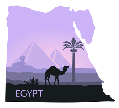 Map of Egypt with the image of a landscape with pyramids, a Sphinx and a camel Illustration